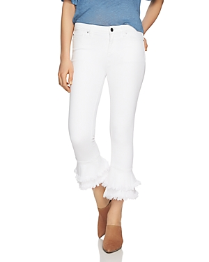 1.state Frayed Ruffle Ankle Jeans in Ultra White
