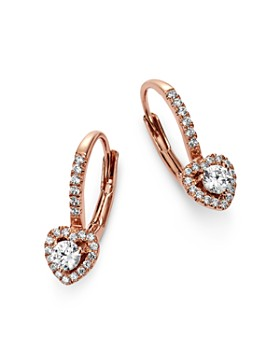 Bloomingdale's - Diamond Heart Drop Earrings in 14K Rose Gold, 0.35 ct. t.w. - 100% Exclusive