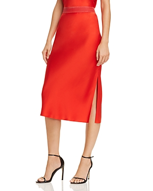1cb4fbb93795 Theory Pull-On Silk Slip Midi Skirt In Fiery Red | ModeSens