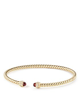 David Yurman - Cable Spira Bracelet in 18K Gold with Garnet & Diamonds