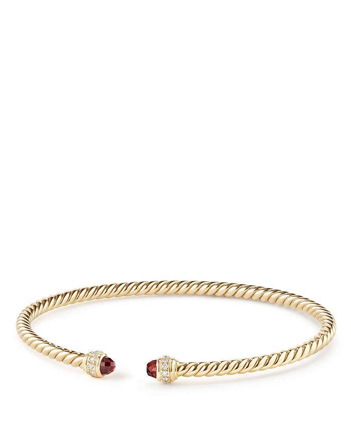 David Yurman - Cable Spira Bracelet in 18K Gold with Garnet & Diamonds