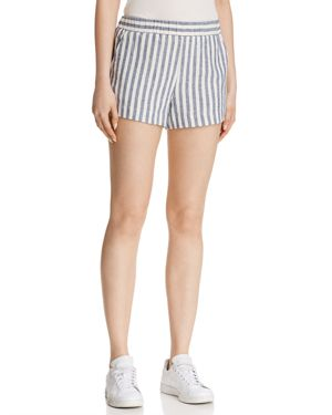 Linen Blend Stripe Shorts in Off White