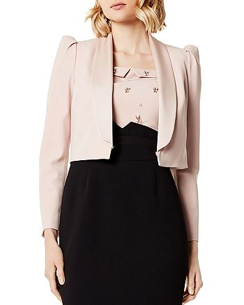 KAREN MILLEN - Puff-Sleeve Cropped Tuxedo Jacket
