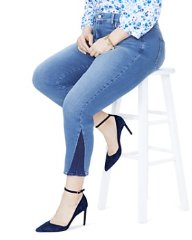 NYDJ Plus - Sheri Contrast-Panel Skinny Ankle Jeans