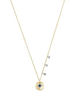 "Meira T - 14K White & Yellow Gold Evil Eye Sapphire & Diamond Disc Pendant Necklace, 16"""