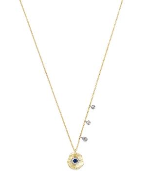 Meira T 14K White & Yellow Gold Evil Eye Sapphire & Diamond Disc Pendant Necklace, 16