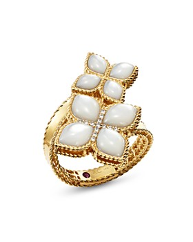 Roberto Coin - 18K Yellow Gold Venetian Princess Mother-Of-Pearl & Diamond Bypass Ring