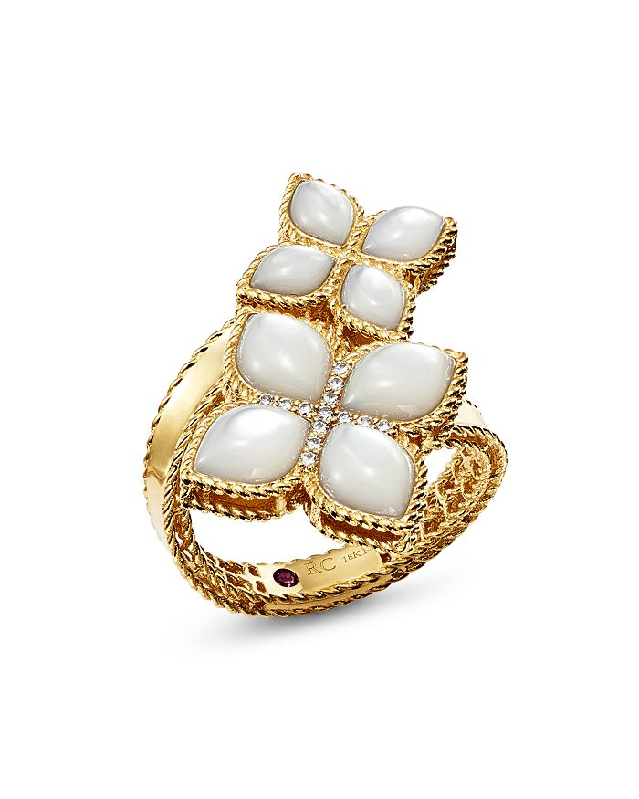 Roberto Coin - 18K Yellow Gold Venetian Princess Mother-Of-Pearl & Diamond Bypass Ring