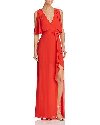 BCBGMAXAZRIA - Faux Wrap Gown - 100% Exclusive