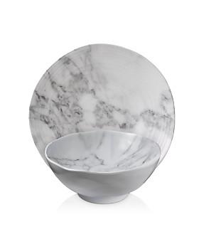 Merritt - White Marble Melamine Dinnerware