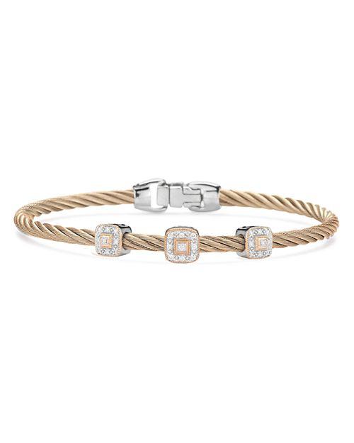 ALOR - Carnation Three-Station Cable Bangle Bracelet With Diamonds