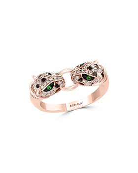 Bloomingdale's - Diamond & Tsavorite Double Panther Ring in 14K Rose Gold, 0.33 ct. t.w. - 100% Exclusive