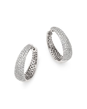 Roberto Coin - 18K White Gold Scalare Diamond Hoop Earrings