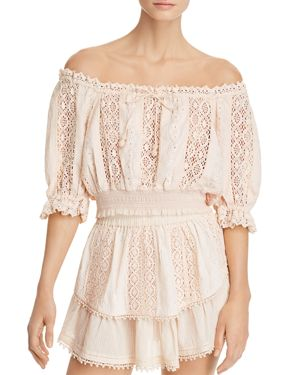 SAYLOR Off-The-Shoulder Lace Crop Top in Blush