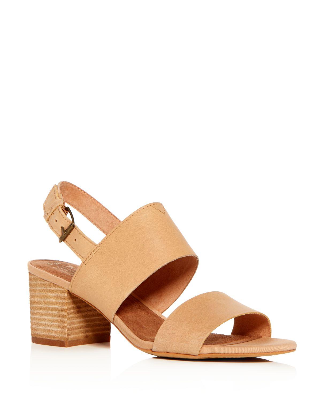 TOMS Women's Poppy Leather Slingback Block Heel Sandals