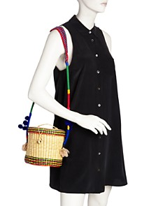 Nannacay - Ana Striped Pom-Pom Straw Bucket Bag