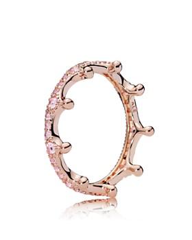 PANDORA - Rose Gold Tone Sterling Silver Pink Enchanted Crown Ring