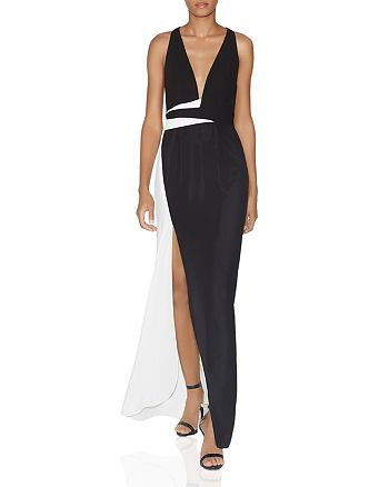 HALSTON HERITAGE - Color-Blocked Side-Slit Gown