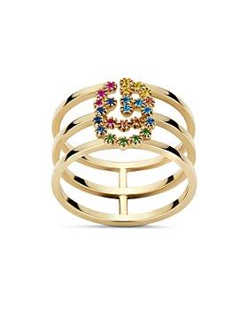 Gucci - 18K Yellow Gold GG Running Mixed Gemstone Ring