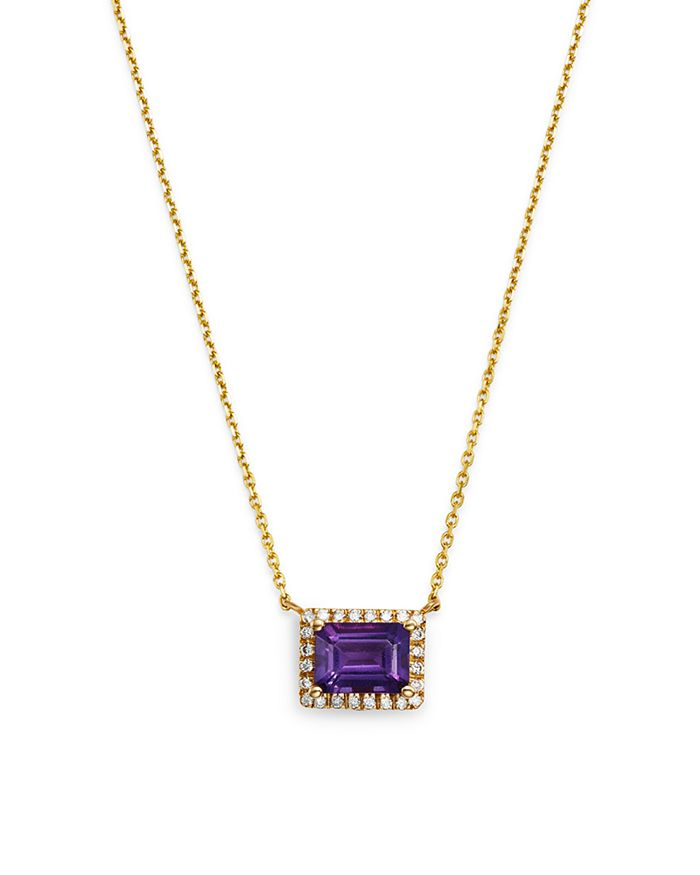 """Bloomingdale's - Emerald-Cut Amethyst & Diamond Pendant Necklace in 14K Yellow Gold, 16"""" - 100% Exclusive"""