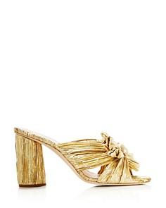 Loeffler Randall - Women's Penny Pleated Metallic High-Heel Slide Sandals