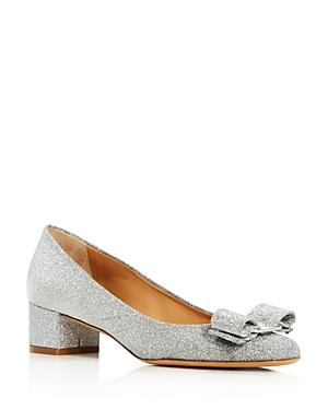 Salvatore Ferragamo Women's Vara Glitter Leather Block Heel Pumps