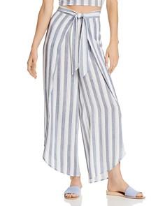 AQUA - Tie-Front Striped Wide-Leg Pants - 100% Exclusive