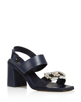 d929295e72f Tory Burch - Women s Delaney Embellished Leather Block Heel Sandals ...