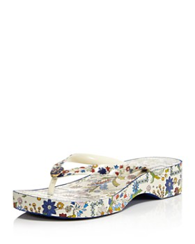 Tory Burch - Women's Printed Cut-Out Wedge Thong Sandals
