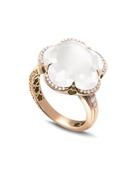 Pasquale Bruni - 18K Rose Gold Bon Ton Floral Milky Quartz & Diamond Ring