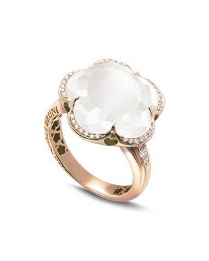 PASQUALE BRUNI 18K ROSE GOLD BON TON FLORAL MILKY QUARTZ & DIAMOND RING