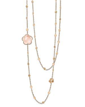 PASQUALE BRUNI 18K ROSE GOLD BON TON FLORAL ROSE QUARTZ & DIAMOND NECKLACE, 40