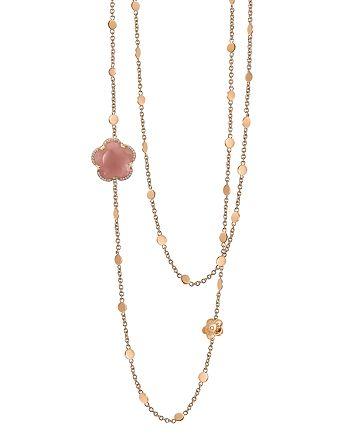 "Pasquale Bruni - 18K Rose Gold Bon Ton Floral Dark Pink Chalcendony & Diamond Necklace, 40"""