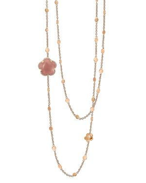 PASQUALE BRUNI 18K ROSE GOLD BON TON FLORAL DARK PINK CHALCENDONY & DIAMOND NECKLACE, 40