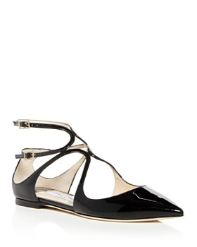 Jimmy Choo - Women's Lancer Patent Leather Ankle Strap Flats