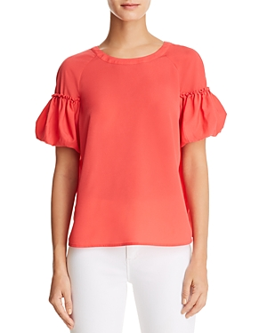 French Connection Puff-Sleeve Crepe Top