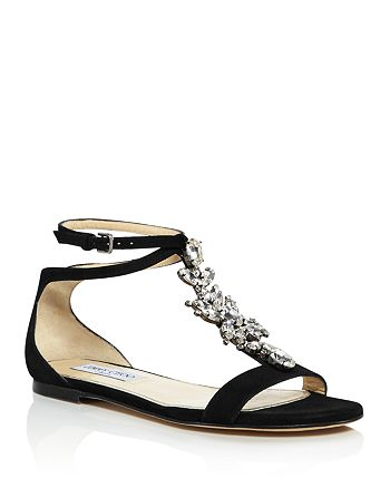 Jimmy Choo - Women's Averie Embellished Suede T-Strap Sandals