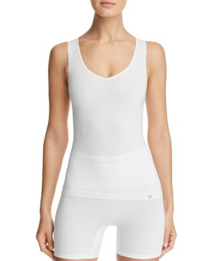 YUMMIE Seamless V-Neck Tank in White
