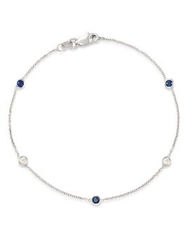 Bloomingdale's - Blue Sapphire & Diamond Station Bracelet in 14K White Gold - 100% Exclusive