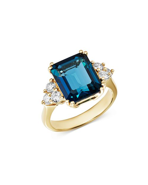 Bloomingdale's - Emerald-Cut London Blue Topaz & Diamond Statement Ring in 14K White Gold - 100% Exclusive