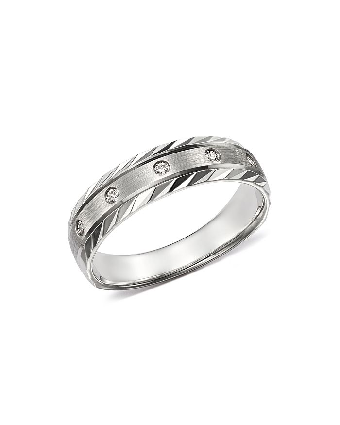 Bloomingdale's - Men's Diamond Double-Bevel Edge Band in 14K White Gold, 0.10 ct. t.w. - 100% Exclusive