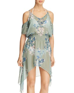 BECCA BY REBECCA VIRTUE SERENE PRINTED COLD-SHOULDER ASYMMETRICAL TUNIC COVER-UP WOMEN'S SWIMSUIT