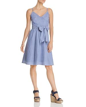 Cupio Pinstripe Faux-Wrap Dress