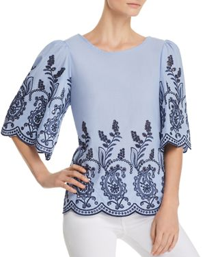 CUPIO MIXED-MEDIA EMBROIDERED BLOUSE