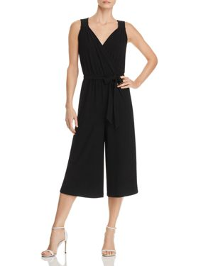 CUPIO CROSSOVER V-NECK CROPPED JUMPSUIT