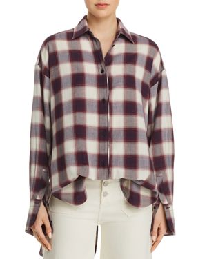 ELIZABETH AND JAMES Clive Button-Down Oversized Plaid Shirt W/ Back Slit in Purple