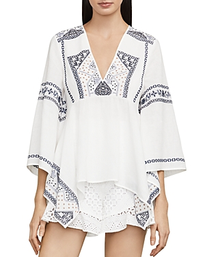 Bcbgmaxazria Embroidered Handkerchief-Hem Top