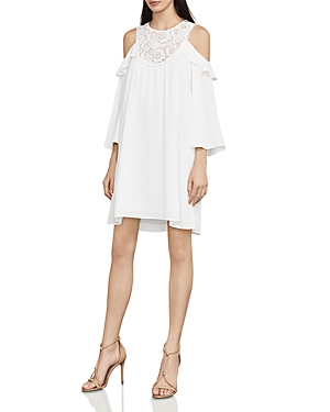 Bcbgmaxazria Cole Lace-Inset Cold-Shoulder Dress