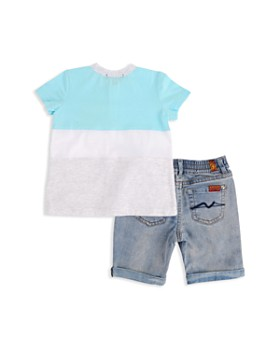 7 For All Mankind - Boys' Island Paradise Henley Tee & Denim Shorts Set - Baby