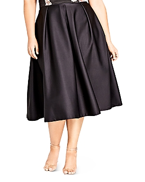 City Chic Plus Sateen Pleated Midi Skirt